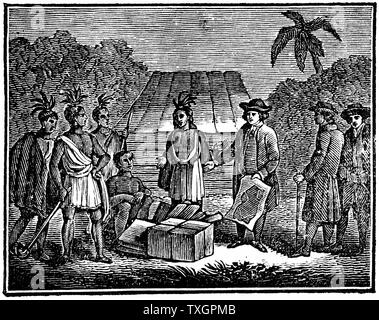 William Penn (1644-1718) English Quaker colonist, treating with Native Americans on site of what is now Philadelphia.  1830 Wood engraving - Stock Photo