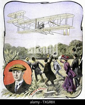 Wilbur Wright's (American aviator) first flight in Europe, at the Hunaudieres racetrack near Le Mans, France in the Wright Brothers' 'Flyer', August 1908 Illustration from 'Le Petit Journal' Paris, August 30, 1908 - Stock Photo
