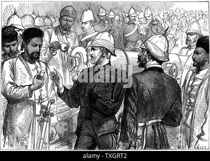 Second Anglo-Afghan War (1878-1880): Yakub (Yakoob) Khan, ruler of Afghanistan, being shown details of British guns during review at Gundamuck shortly after the signing of the Treaty of Gundamuck, 26 May 1879 October 1879   Wood engraving - Stock Photo
