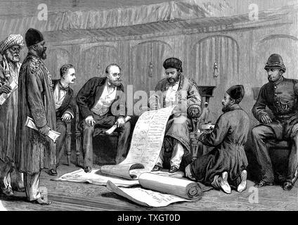 Second Anglo-Afghan War (1878-1880): Yakub (Yakoob) Khan, Afghan ruler, and Major Louis Cavagnari, the British negotiator, signing the Treaty of Gundamuk, 26 May 1879.  1879  Wood engraving - Stock Photo