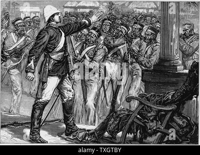 Indian Mutiny (Sepoy Mutiny), 1857-1859 Lt. De Kantzow at Mynpooree holding the mutineering 9th Sepoys at bay for three hours until rescued by an influential Indian.  c.1880 Wood engraving London - Stock Photo