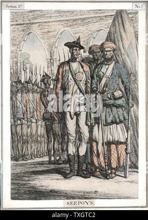 Seypoys, native troops employed by East India Company. It was the Sepoys who began the Indian (Sepoy) Mutiny 1857-59 which brought about the transfer of government from the Company to the British Crown.  19th century Hand-coloured etching - Stock Photo