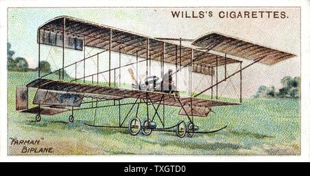 Henri Farman (1874-1958), French aviator and aircraft constructor, Farman biplane c. 1909.  1910 Chromolithograph, from set of cards on aviation - Stock Photo