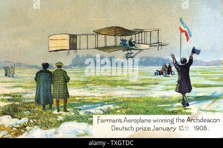 Henri Farman (1874-1958), French aviator and aircraft constructor, in his Voisin biplane winning Archdeacon Deutsch prize for first circular l kilometre flight, Paris, 13 January 1908. From series of postcards on flying machines published c1910. Chromolithograph. - Stock Photo