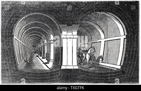 Cross-section showing impression of Marc Isambart Brunel's double arched masonry Thames Tunnel built 1825-1843. Originally a roadway, it is still used by electric trains between Whitechapel and New Cross, London. Woodcut, 1832. - Stock Photo