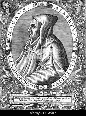 Albertus Magnus (c1200-1280) Italian Dominican friar called 'Doctor Universalis'. Bishop of Ratisbon, 1260.  Melded theology and Aristotelianism From engraving by Th. De Bry (1528-98) - Stock Photo