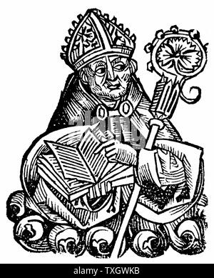 Albertus Magnus (c1200-1280) Italian Dominican friar called 'Doctor Universalis'. Bishop of Ratisbon, 1260, holding open book.  Melded theology and Aristotelianism.  1493 Woodcut from Hartmann Schedel 'Liber chronicarum mundi' (Nuremberg Chronicle) - Stock Photo