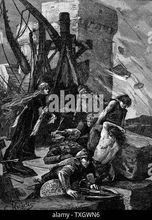 Agnes Countess of March  (1312?-1369) known as Black Agnes, defending Dunbar Castle, Scotland, against the English commanded by the Earl of Salisbury, 1338, when her husband rebelled against the English Late 19th century wood engraving - Stock Photo