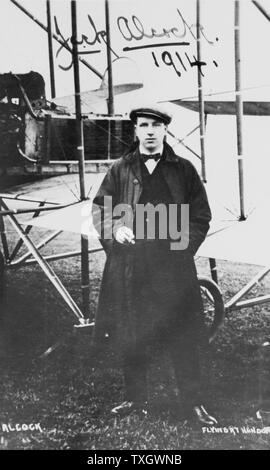 John William Alcock (1892-1919) British aviator who, with Arthur Whitten Brown (1886-1948), was first to fly Atlantic non-stop, 14 June 1919 1914 Photograph of Alcock at Hendon signed and dated - Stock Photo