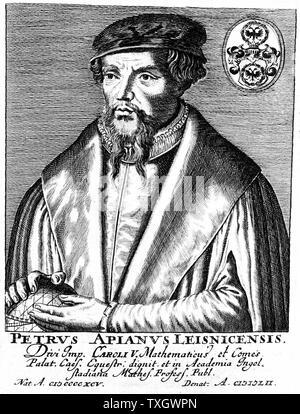 Peter Apian (Petrus Apianus 1495-1552)  German mathematician and astronomer Copperplate engraving - Stock Photo