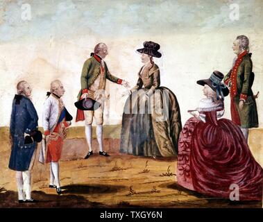Catherine II, the Great (1729-96) Empress of Russia from 1762 with Joseph II (1741-90)  King of Germany 1765, Emperor of Austria from 1780, in 1787 Historischesmuseum, Vienna - Stock Photo