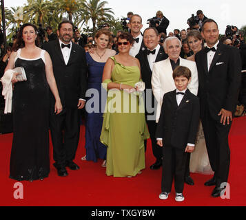 The crew from the film 'Up' arrive on the red carpet before a screening of their film at the opening of the 62nd annual Cannes Film Festival in Cannes, France on May 13, 2009.   (UPI Photo/David Silpa) - Stock Photo