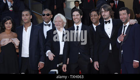 The crew from the film  'Un prophete' arrives on the red steps before a screening of their film at the 62nd annual Cannes Film Festival in Cannes, France on May 16, 2009.   (UPI Photo/David Silpa) - Stock Photo