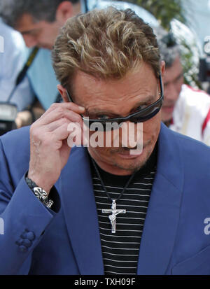 Rocker and actor Johnny Hallyday arrives at a photocall for the film 'Vengeance' at the 62nd annual Cannes Film Festival in Cannes, France on May 17, 2009.   (UPI Photo/David Silpa) - Stock Photo