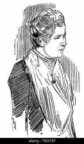 Annie Besant (born  Wood - 1847-1933). British socialist and theosophist. Wood engraving 1890. - Stock Photo