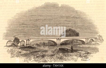 Maidenhead Bridge on the Great Western Railway, c1860.  Bridge designed by Isambard Kingdom Brunel (1806-1859) to carry the GWR across the Thames at Maidenhead, Berkshire. Critics were convinced that the bridge would fall because of the breadth and flatness of the arches, 128 ft (39m) wide with a rise of 24ft 3in (7.39m) to the crown, but they were proved wrong.  Opened 1839. From 'The Land We Live In' (London, c1860) - Stock Photo