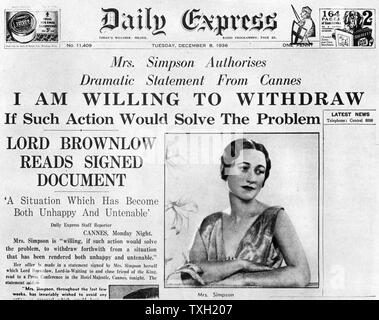 Mrs Simpson offers to 'withdraw', 8 December 1936. Article on the front page of the 'Daily Express' about American socialite Wallis Simpson (1896-1986). Mrs Simpson's relationship with King Edward VIII (1894-1972) eventually led to his abdication. - Stock Photo