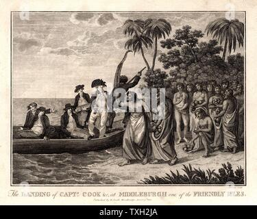James Cook (1728-79) English explorer and navigator and hydrographer landing on the Friendly Islands (Kingdom of Tonga) in 1773. From 'Captain Cook's Original Voyages Round the World' (Woodbridge, Suffolk, c1815).  Engraving. - Stock Photo
