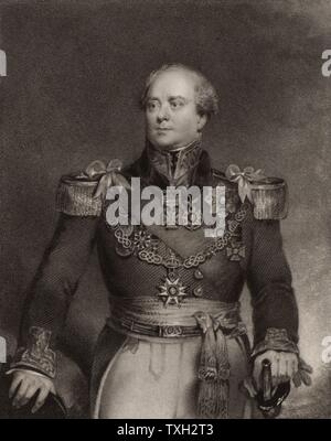 Archibald Campbell (1769-1843) British career soldier. Colonel 1814; Major-general 1825; Lieutenant-general 1838. Served in India 1788-99, and in Peninsular campaign in Napoleonic Wars. Conducted war in Burma: Governor-general British Burma 1826-1829.  Engraving after portrait by J. Wood, 1836. - Stock Photo
