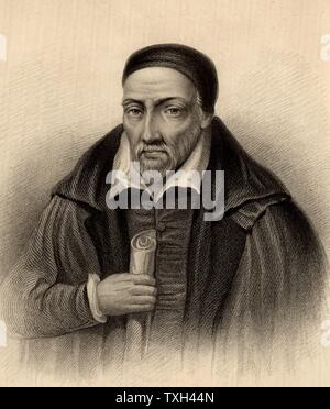 George Buchanan (1506-1582) Scottish humanist, historian and scholar. Tutor to Mary Queen of Scots (1562) and in 1567 to her son James VI.  Keeper of the Privy Seal of Scotland (1571-1583). Engraving from 'A Biographical Dictionary of Eminent Scotsmen' by Thomas Thomson (1870). - Stock Photo