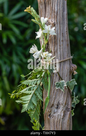 Detail of a wooden wedding arch decorated with greenery and flowers. Tropical destination wedding. - Stock Photo