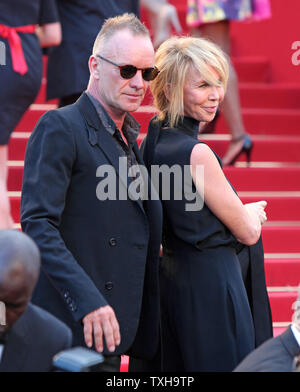 Sting and his wife Trudie Styler arrive on the red carpet before the screening of the film 'Mud' during the 65th annual Cannes International Film Festival in Cannes, France on May 26, 2012.  UPI/David Silpa - Stock Photo