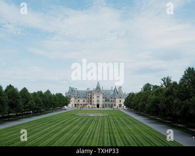 landscape of Biltmore Estates in Asheville NC - Stock Photo