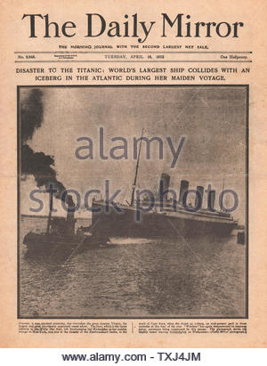 1912 Daily Mirror front page Titanic disaster - Stock Photo