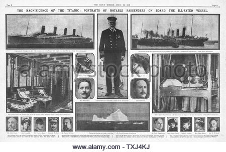 1912 Daily Mirror  centre page Titanic disaster - Stock Photo