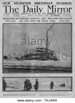 1914 Daily Mirror front page Sinking of hospital ship Rohilla - Stock Photo