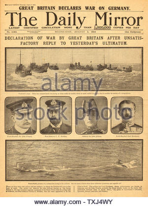 1914 Daily Mirror front page World War One War Declared - Stock Photo