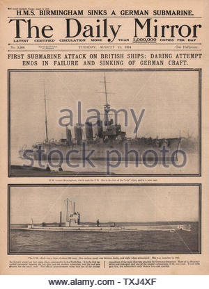 1914 Daily Mirror front page German U Boat and HMS Birmingham - Stock Photo