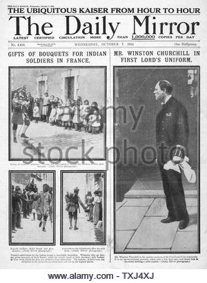 1914 Daily Mirror front page Winston Churchill First Lord of the Admiralty - Stock Photo