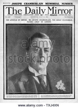 1914 Daily Mirror front page Death of politicial Joseph Chamberlain - Stock Photo