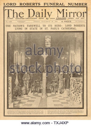 1914 Daily Mirror front page Field Marshall Lord Roberts funeral - Stock Photo