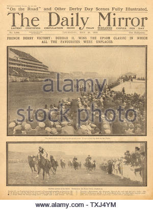 1914 Daily Mirror front page Durbar II wins The Derby - Stock Photo