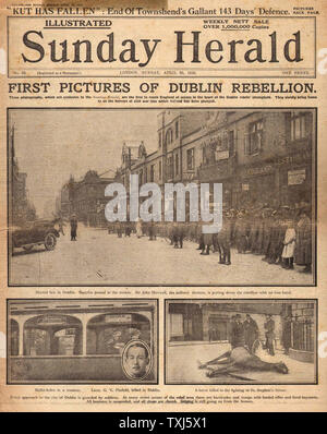 1916 Sunday Herald front page reporting Easter Uprising Ireland - Stock Photo