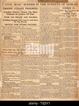 1916 Sunday Herald page 2 reporting Easter Uprising Ireland - Stock Photo