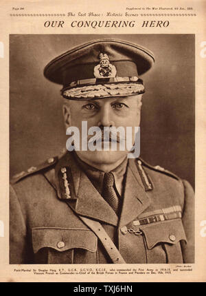 1919 The War Illustrated front page reporting Field Marshal Sir Douglas Haig - Stock Photo