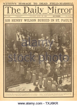 1922 Daily Mirror front page reporting Funeral of Field Marshall Sir Henry Wilson - Stock Photo