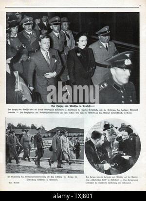 1937 German magazine Duke and Duchess of Windsor visit Germany - Stock Photo