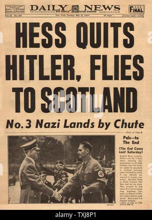 1941 Daily News (New York) Rudolf Hess flies to Britain - Stock Photo
