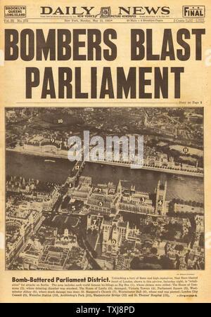 1941 Daily News (New York) British Parliament bombed - Stock Photo