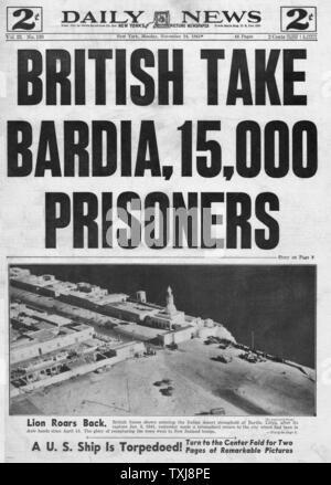 1941 Daily News (New York) North Africa British take Bardia - Stock Photo