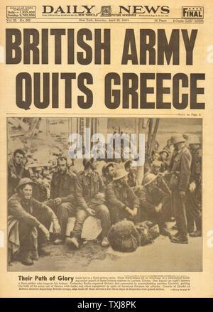 1941 Daily News (New York) British army quit Greece - Stock Photo