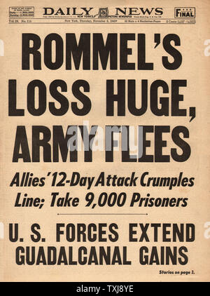 1942 Daily News (New York) Field Marshal Erwin Rommel and German army retreat from North Africa - Stock Photo
