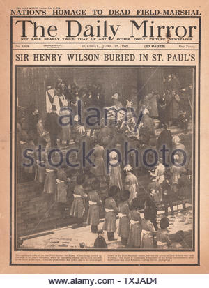 1922 Daily Mirror newspaper front page Funeral of Sir Henry Wilson - Stock Photo