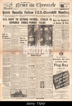 1941 News Chronicle front page reporting Winston Churchill and Roosevelt's Atlantic Charter talks - Stock Photo