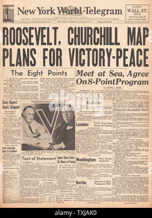 1941 New York World Telegraph front page reporting Winston Churchill and Roosevelt's Atlantic Charter talks - Stock Photo