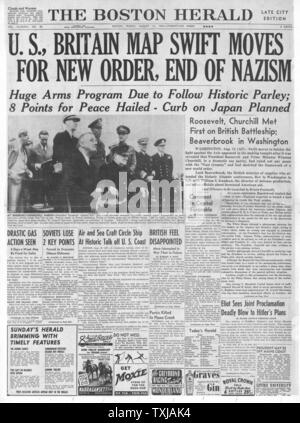 1941 Boston Herald front page reporting Winston Churchill and Roosevelt's Atlantic Charter talks - Stock Photo